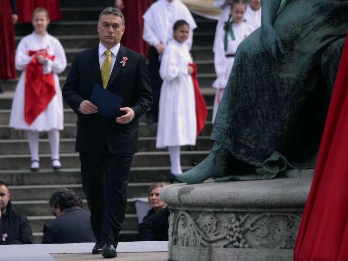 Viktor Orban, lors de la commémoration de l'indépendance de la Hongrie, à Budapest, le 15mars2015.