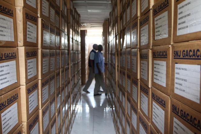 Les archives des procès Gacaca, à Kigali.