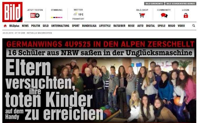 A la «une» du site Internet du quotidien allemand «Bild», mercredi25ars au matin.