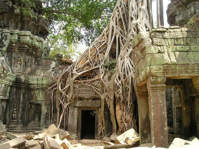 Temple à Angkor (Cambodge).