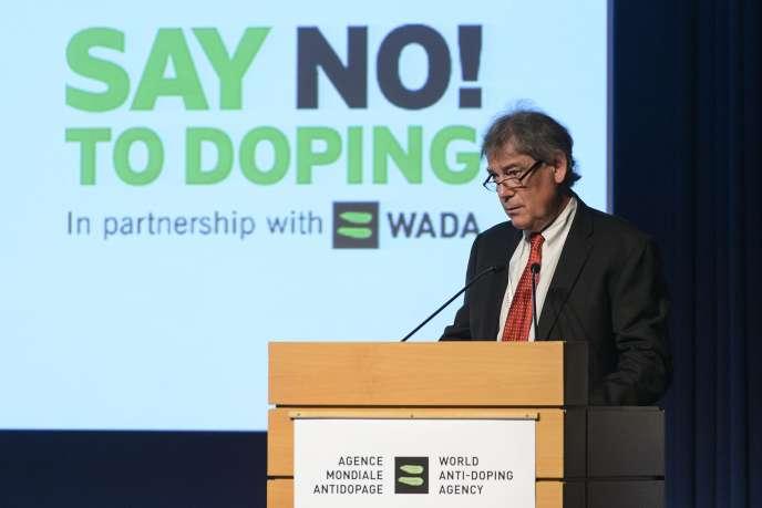 David Howman, l'ancien directeur de l'Agence mondiale contre le dopage,lors d'une conférence, le 24 mars 2015.JEAN-CHRISTOPHE BOTT / AP