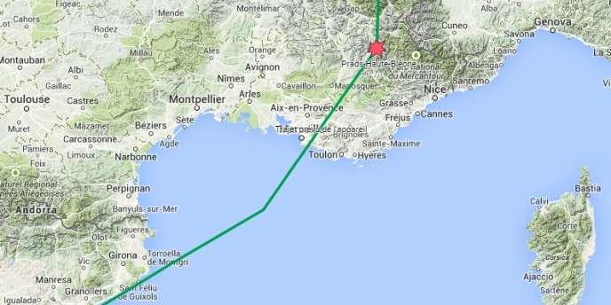 Carte des lieux présumés du crash de l'A320 le 24 mars.