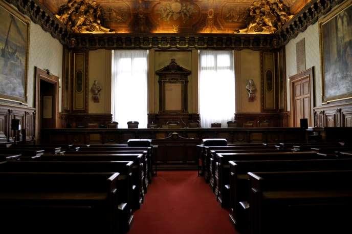 La grande salle d'audience du tribunal de commerce de Paris, le 21 septembre 2014.