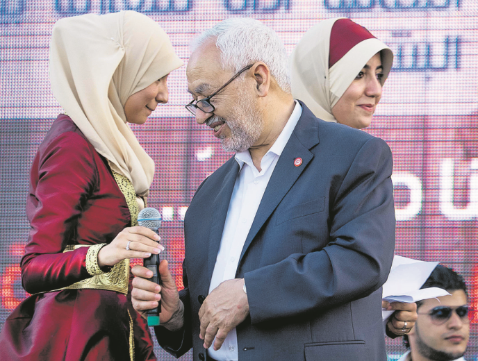 Le 7 juin, à Tunis, Rached Ghannouchi lors du 33e anniversaire d'Ennahda.