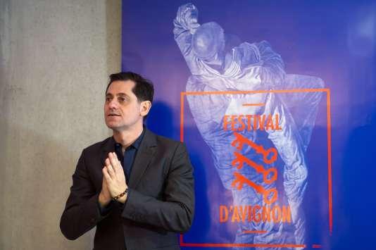 Le directeur du Festival d'Avignon, Olivier Py, lors de la présentation du programme de la 69e édition à Avignon, le 26 mars 2015.