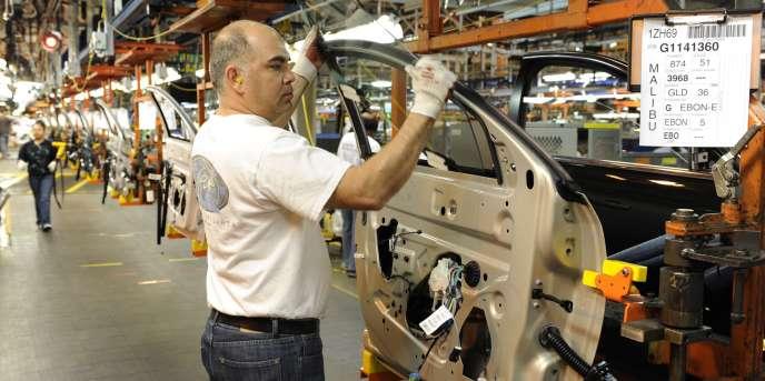 Une chaîne de montage General Motors à Kansas City (Etats-Unis).