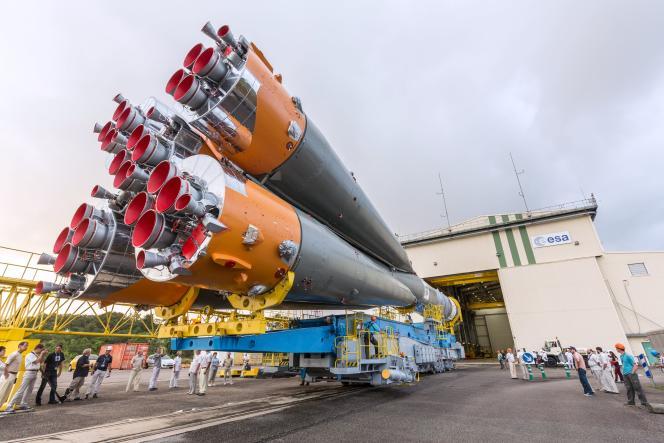 La fusée russe Soyouz, à Kourou (Guyane), le 24mars.