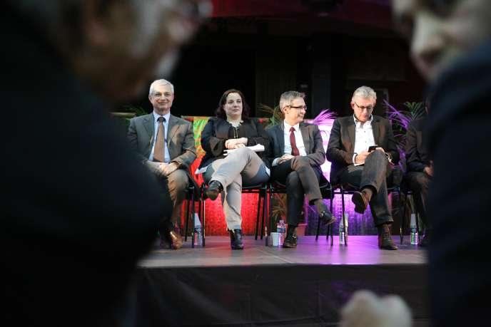 Claude Bartolone (PS), Emmanuelle Cosse (EELV), Stéphane Troussel (PS) et Pierre Laurent (PCF), en meeting à Bondy (Seine-Saint-Denis), jeudi 26mars.