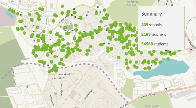 Une nouvelle carte, visible sur Openschoolskenya.org, répertorie les 339 écoles, 2183 professeurs et 54588 élèves du lieu.