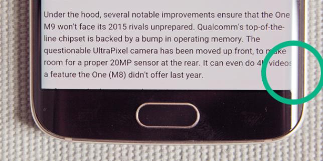Détail de la bordure. du Galaxy S6.