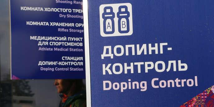Contrôle antidopage aux Jeux olympiques de Sotchi (Russie), le 21 février 2014.
