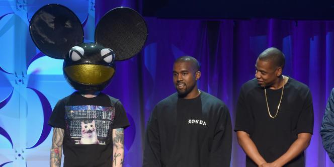 De gauche à droite, Deadmau5, Kanye West et Jay-Z à New York pour la présentation de Tidal, le30mars2015.