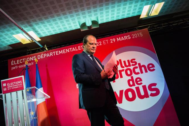 Le premier secrétaire du Parti socialiste Jean Christophe Cambadelis après sa déclaration à la presse dimanche 29 mars à l'issue du second tour des élections départementales.