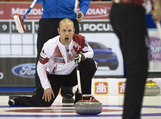 Pat Simmons, le capitaine de Team Canada, lors du match contre les Etats-Unis, samedi 28 mars à Halifax.