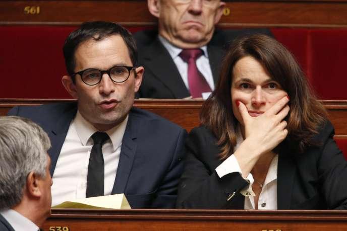 Benoît Hamon et Aurélie Filippetti à l'Assemblée, le 1er avril.