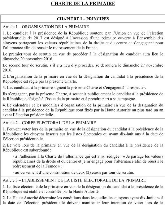 Capture d'écran du projet de charte de la primaire UMP qui sera soumis au bureau politique, le 14 avril 2015.