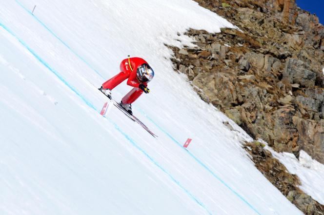 L'Italien Simone Origone, jeudi 2 avril. Ce jour-là, il avait atteint 251,397 km/h.