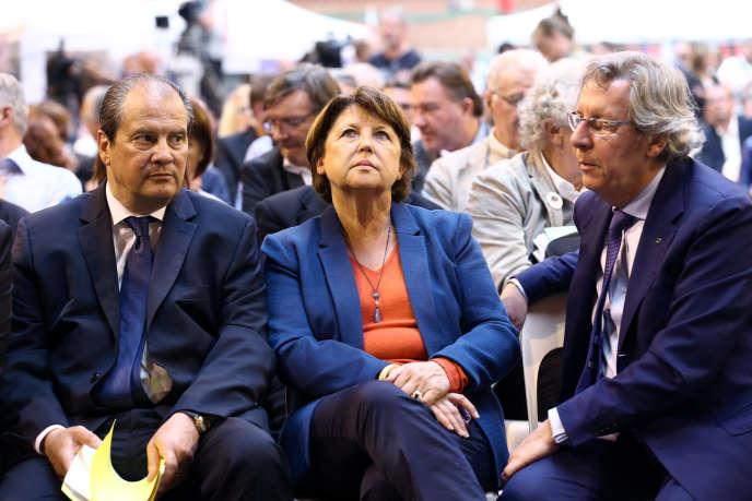 Martine Aubry, maire de Lille, Jean Christophe Cambadelis, premier secrétaire du PS, et Gilles Pargneaux, premier secrétaire de la fédération socialiste du Nord, le 13 septembre 2014 à Lomme Nord.