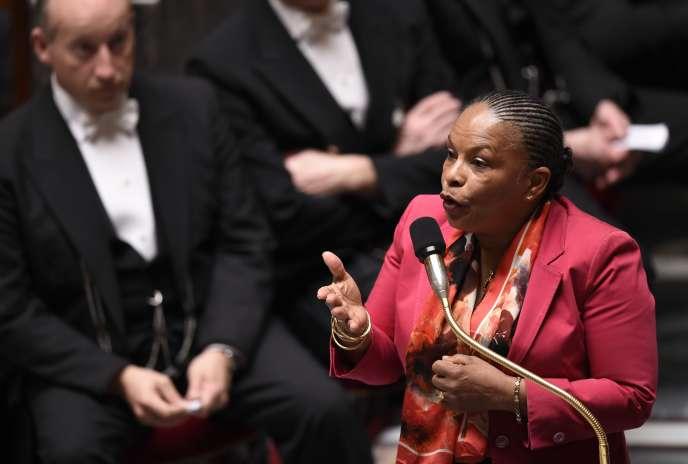 La garde des sceaux Christiane Taubira, durant une séance de questions au gouvernement à l'Assemblée, le 8 avril.