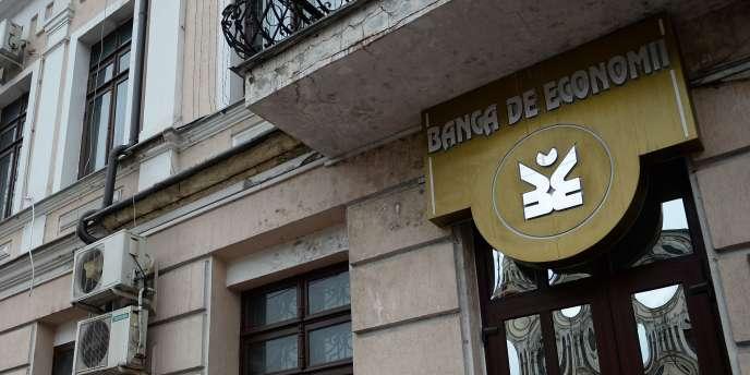 La Banque d'économies (BEM), un des trois établissements majeurs de Moldavie, le 27 mars.