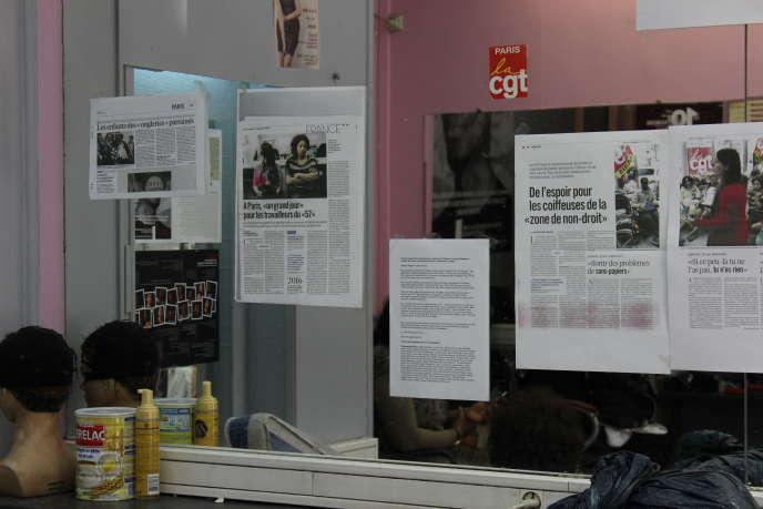 Au 57 boulevard de Strasbourg, le combat s'affiche sur tous les miroirs.