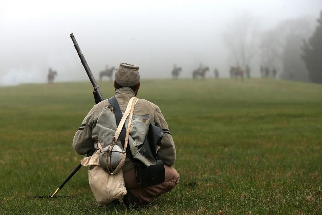 Un soldat confédéré lors de la reconstitution de la bataille d'Appomattox (Virginie) le 9 avril.
