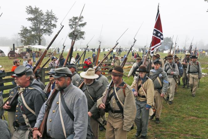 Reconstitution de la bataille d'Appomattox (Virginie) le 9 avril.