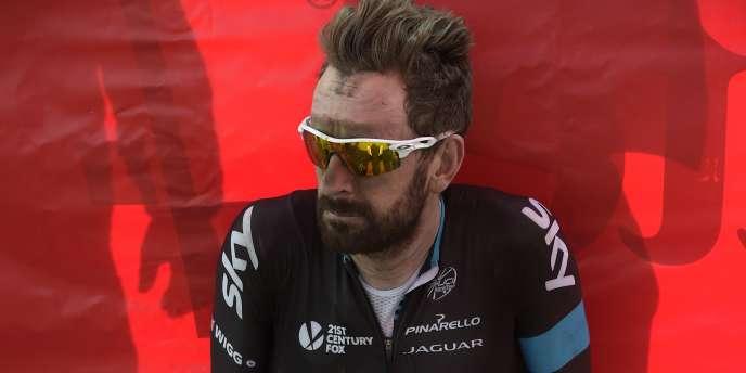 Bradley Wiggins après l'arrivée de Paris-Roubaix, 12 avril 2015.