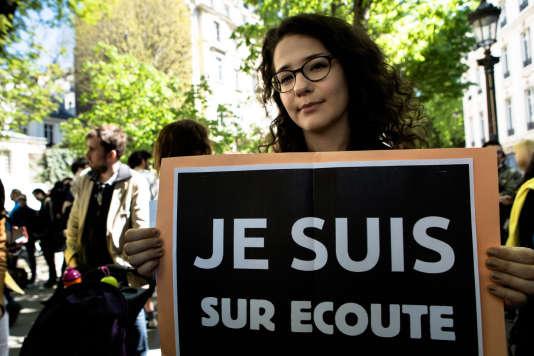 Lors d'une manifestation contre la loi sur le renseignement, le 13 avril 2015.