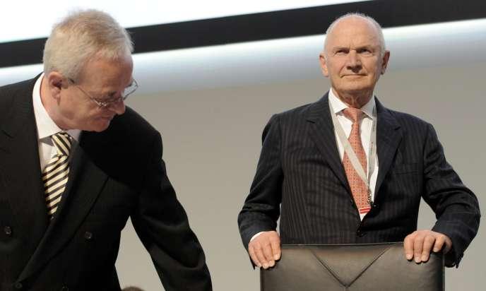 Martin Winterkorn (à gauche), PDG du groupe Volkswagen, et Ferdinand Piëch, président du conseil de surveillance de l'entreprise.