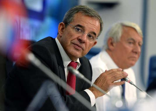 Thierry Mariani, lors d'une conférence de presse de l'association Dialogue franco-russe, à Moscou, le 11septembre2014.