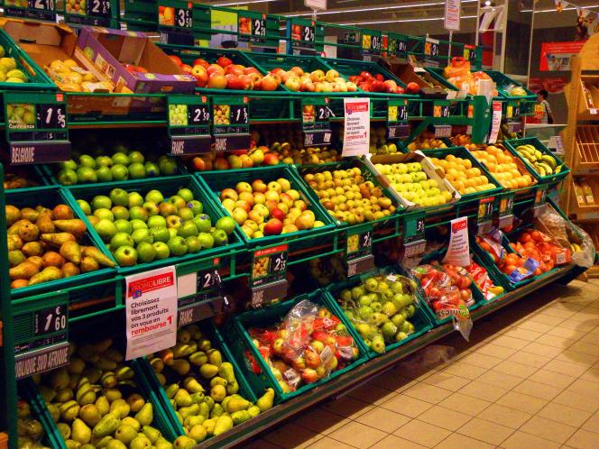 Dans un supermarché de Pontorson (Manche).