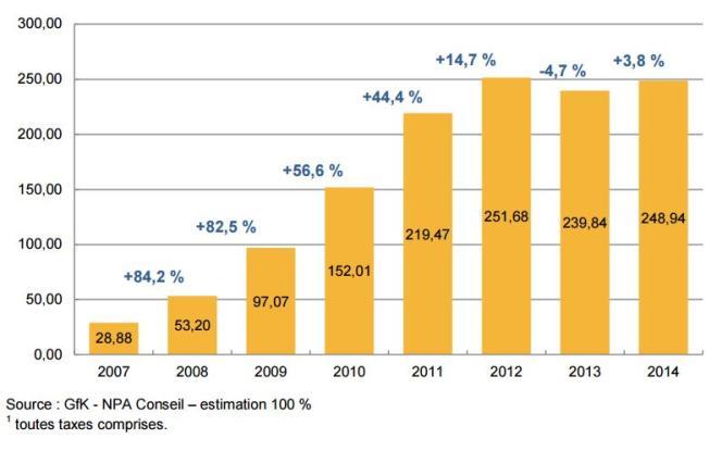 Le marché de la vidéo à la demande s'est stabilisé en 2014 : il représente un quart du chiffre d'affaires de la vidéo payante.