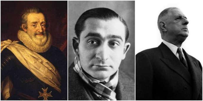 Henri IV, Pierre Mendès-France et le général de Gaulle : trois dirigeants français.