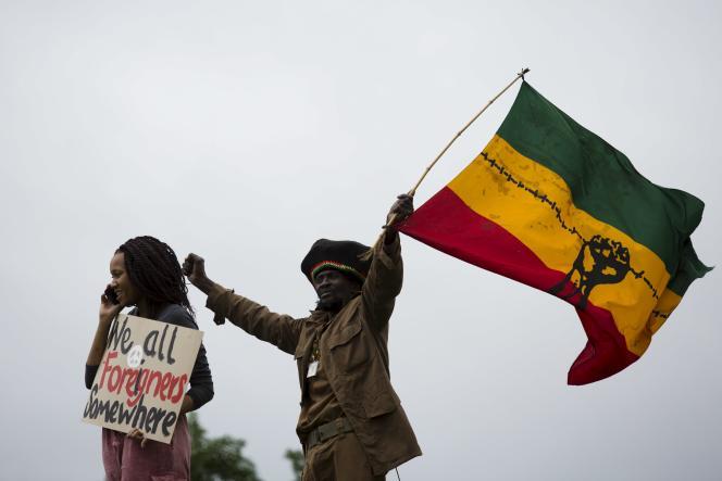 Manifestation contre la xénophobie, à Durban, dans l'est de l'Afrique de Sud, le 16 avril.