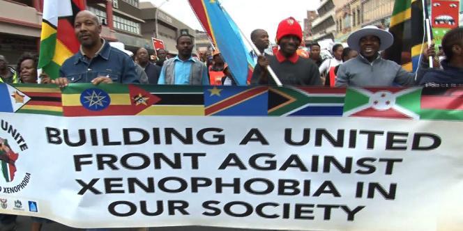 Manifestation contre le racisme à Durban en Afrique du Sud.