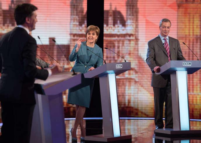 Lors du débat télévisé du 16 avril pour les élections législatives au Royaume-Uni.