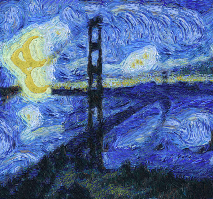 Le Golden Gate Bridge façon Van Gogh, après traitement de