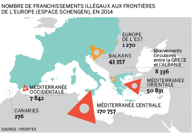 Les franchissements illégaux aux frontières de l'Europe en 2014.