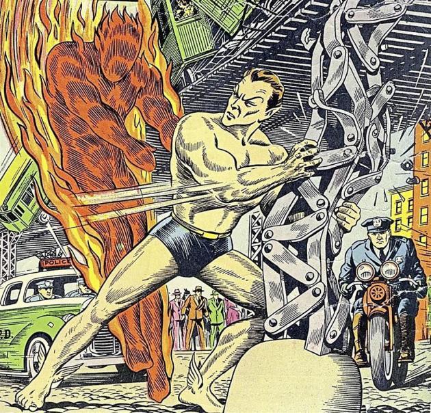 Toro la Torche humaine se bat contre Namor le Sub-Mariner, dans le premier cross-over de superhéros. Il est publié par Timely Comics, société qui deviendra Marvel peu après.
