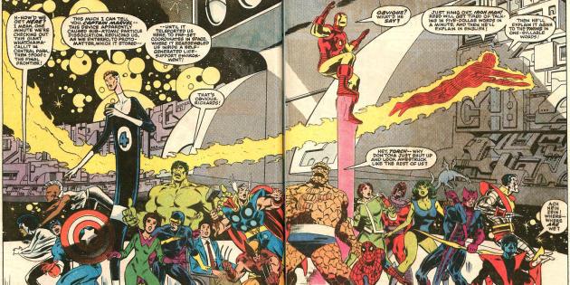 Les héros de Marvel au tout début de l'événement «Secret Wars».