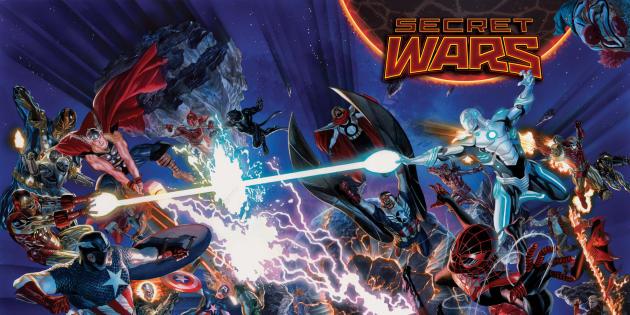 Dessin promotionnel diffusé avant la sortie du prochain «Secret Wars», sur le point d'être publié par Marvel.