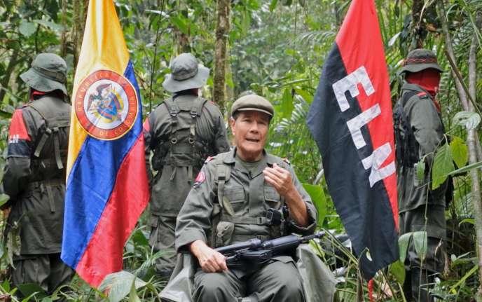 Nicolas Rodriguez, commandant de l'ELN, dans une vidéo diffusé par la guérilla d'extrême gauche en avril 2015.