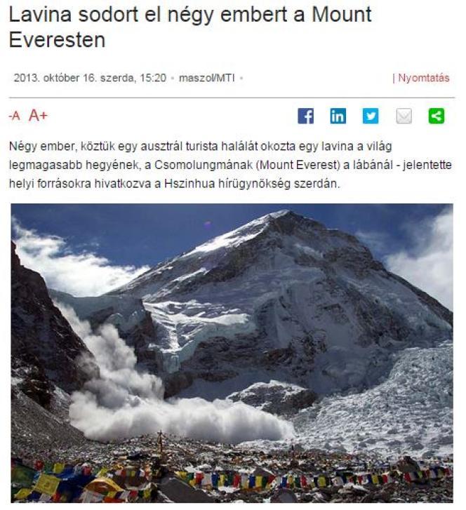 Article sur une avalanche sur l'Everest en 2013.
