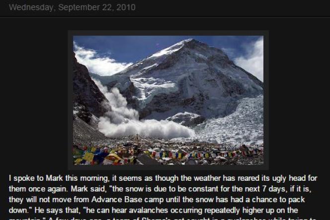 Post de blog sur l'Everest en 2010.