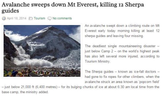 Article de 2014 sur une avalanche sur l'Everest.