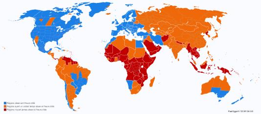 Les pays qui appliquent le changement d'heure en 2014.