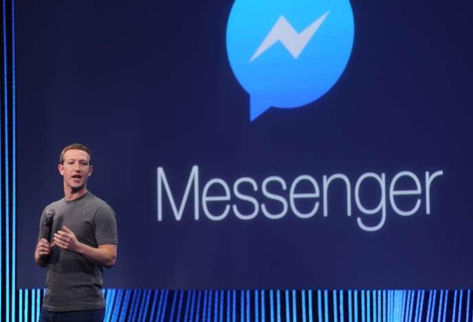 Mark Zuckerberg, le patron de Facebook, en avril 2015, à l'occasion du lancement de Messenger.