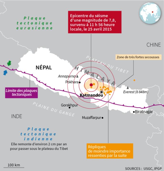 Carte de situation de l'épicentre du séisme au Népal.