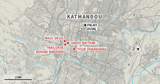 La carte des monuments de Katmandou détruits ou endommagés par le séisme au Népal.